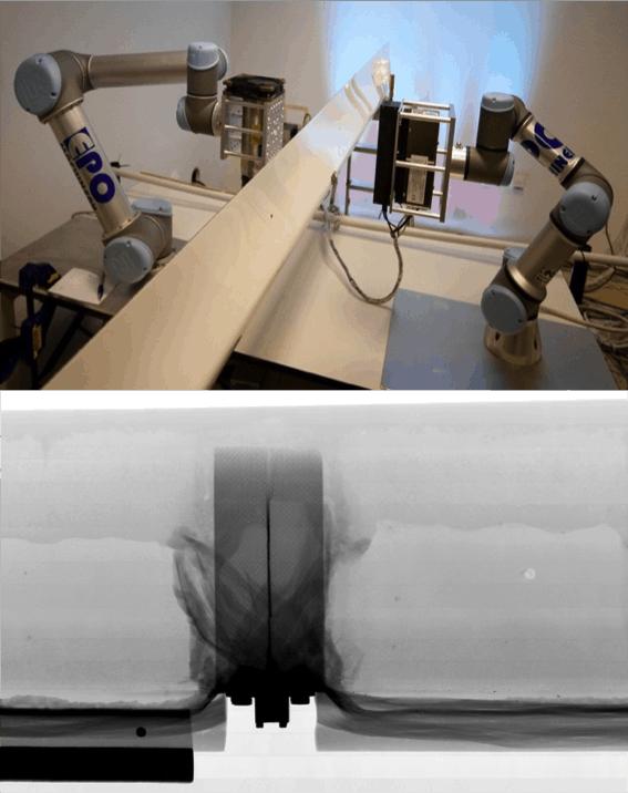 Radalytica's robotic system prototype inspecting a glider aileron